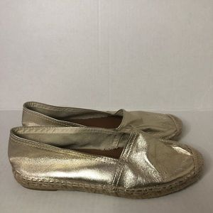 Anthro Maypol Gold Metallic Leather Espadrilles